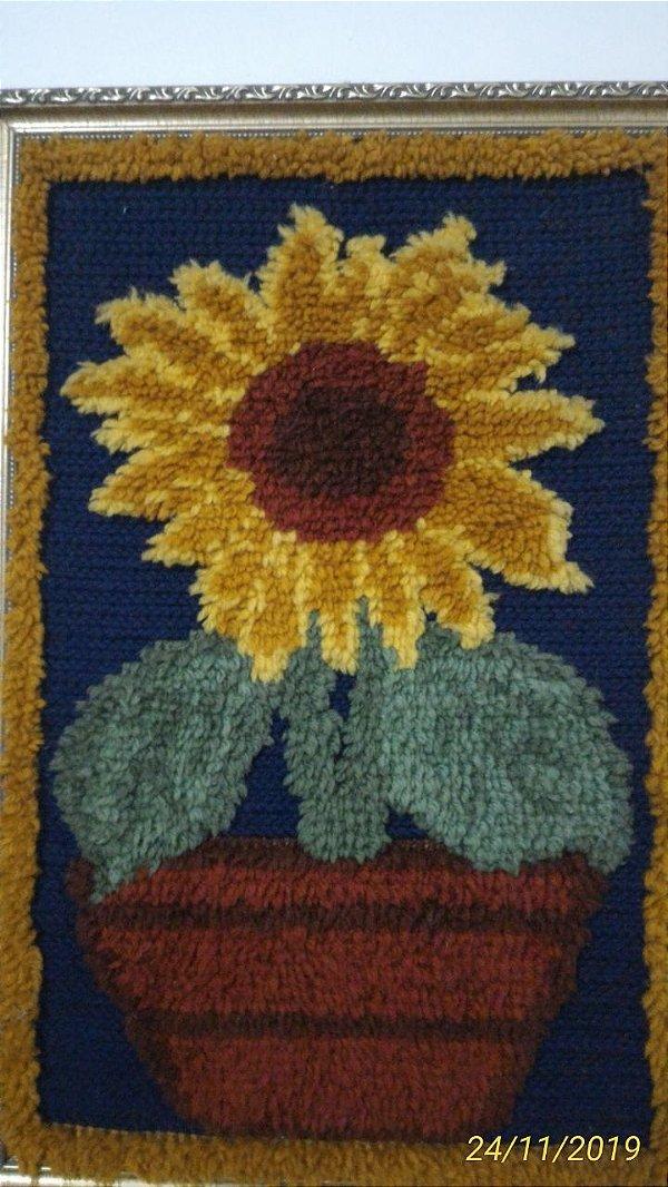 Juta Riscada Quadro Floral # 84
