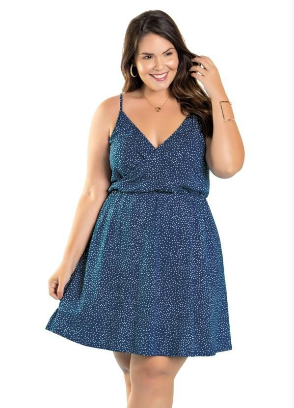 Vestido Feminino Cinturado Alça Transpassado Plus Poá azul