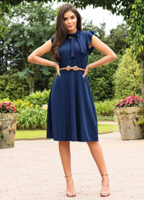 Vestido Azul Moda Evangélica Com Gola Laço