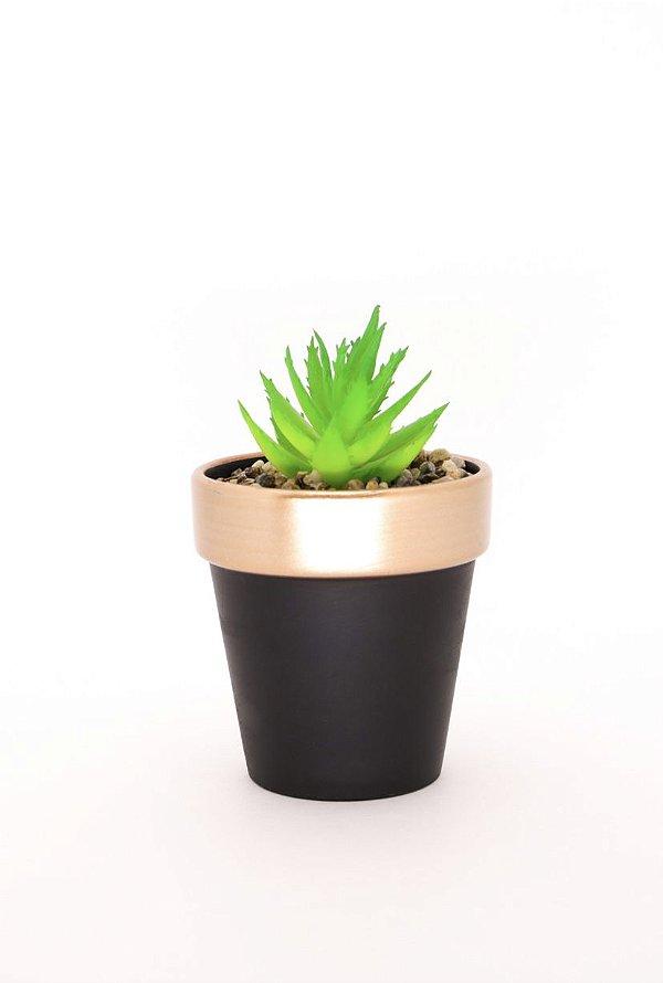 Vaso planta artificial CORAL/PRETO