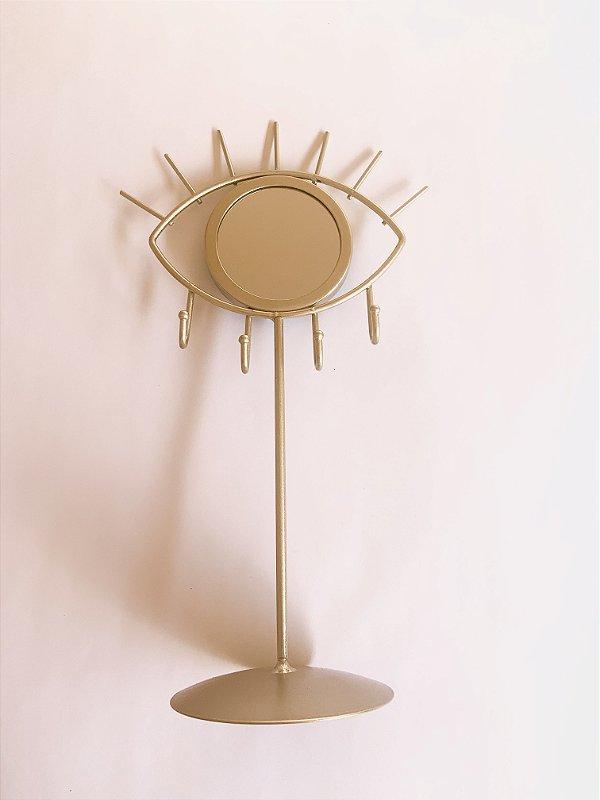 Espelho OLHO GREGO dourado menor