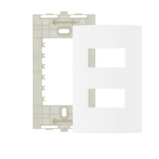 PLACA 4X2 2 MÓDULOS SEPARADOS BRANCO COM SUPORTE LINHA CLEAN 14292 MARGIRIUS