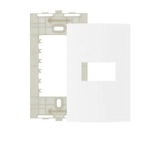 PLACA 4X2 1 MÓDULO HORIZONTAL BRANCO COM SUPORTE LINHA CLEAN 14290 MARGIRIUS