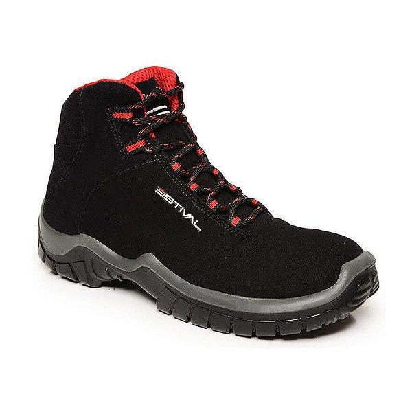 Sapato De Segurança Em Microfibra Preto E Vermelho  Estival Tamanho 39 -  CA