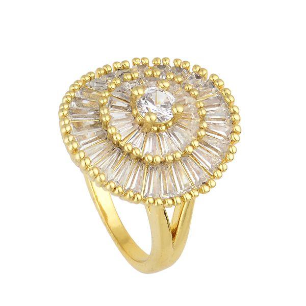 Anel Folheado a Ouro Pedras Cristal