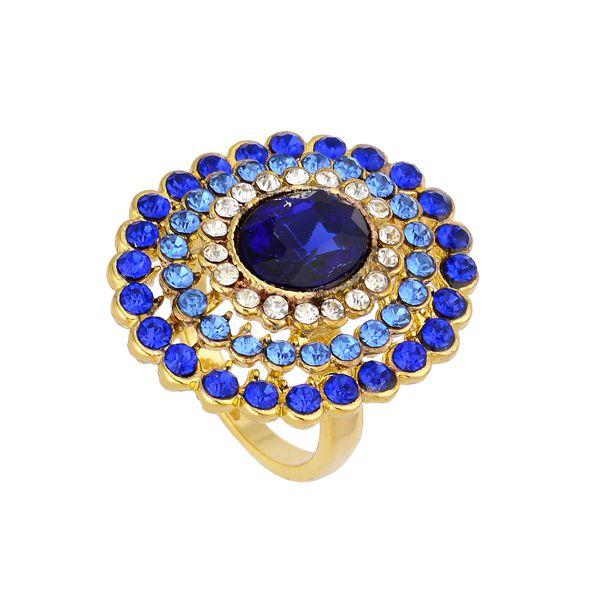Anel Folheado a Ouro Mandala Azul