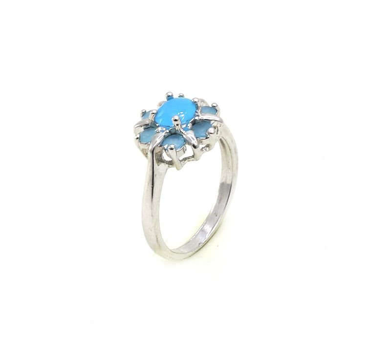 Anel Azul Turquesa Ródio Branco
