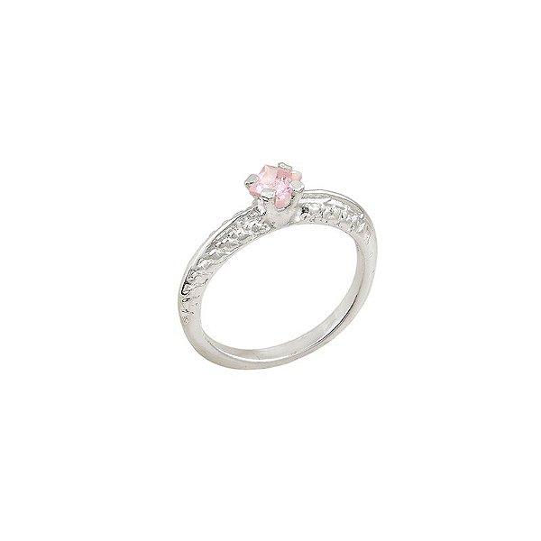 Anel folheado a ouro com pedra de vidro na cor rosa