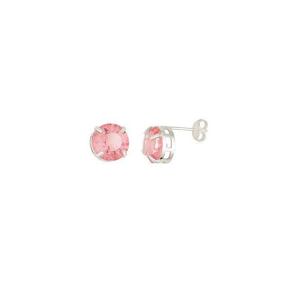 Brinco Folheado a Prata Pequeno Pedra Fusion Rosa
