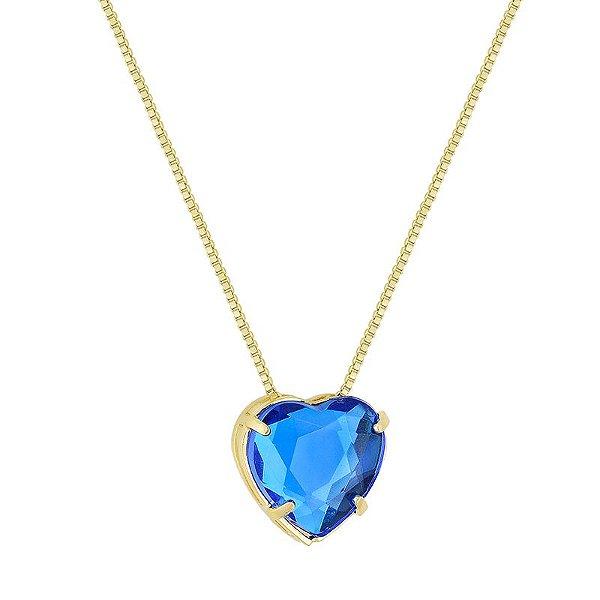 Gargantilha Coração Azul Folheado a Ouro