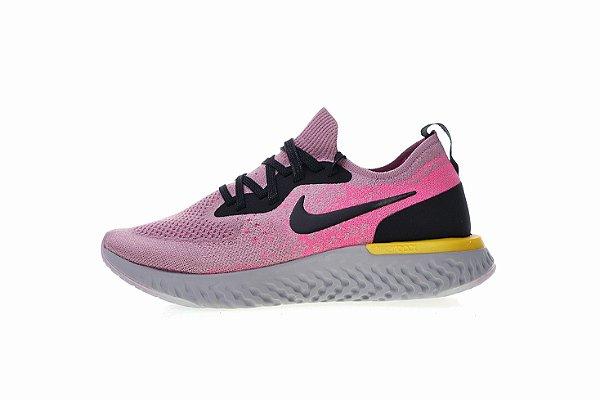 9c8997aa Tênis Nike Epic React Flyknit - Feminino - Rosa, Preto e Amarelo ...