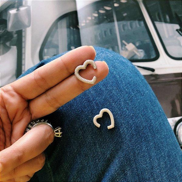 New! Piercing Coracao Cravejado Prata 925