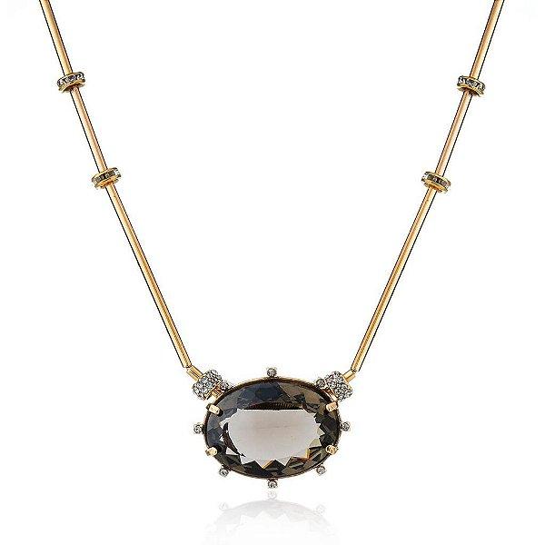 Cordão Cristal Claudia Arbex Ouro Vintage