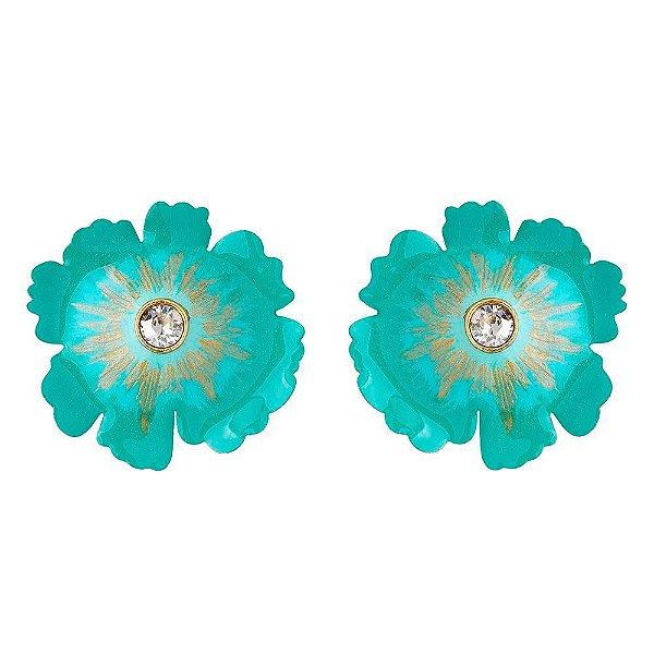 Brinco Pressão Flor de Cerejeira Turquesa - Dourado