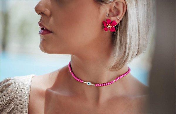 Brinco Flor Gardênia Pink