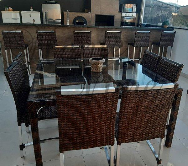 Jogo de mesa quadrada Madri com 8 cadeiras