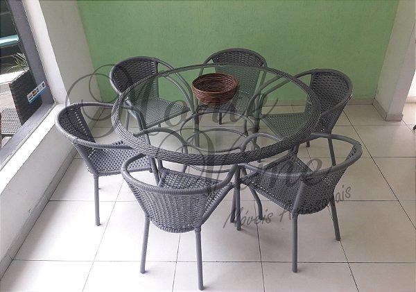 Mesa 1.30 diâmetro + 6 cadeiras Lisboa