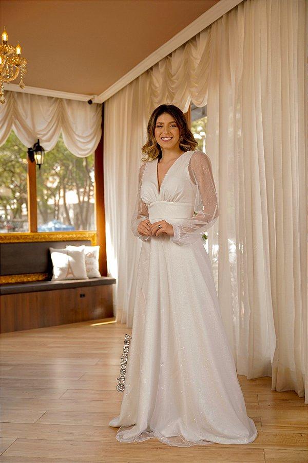 Vestido de noiva longo, em tule com brilho, manga longa e decote V