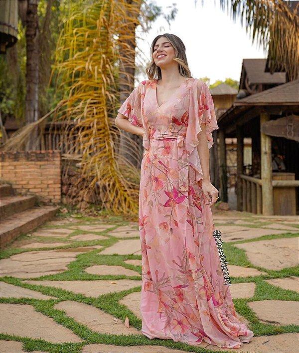 Vestido de festa floral, com mangas de babados