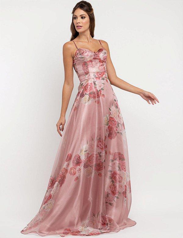 Vestido de festa floral, em organza, com busto estilo corset