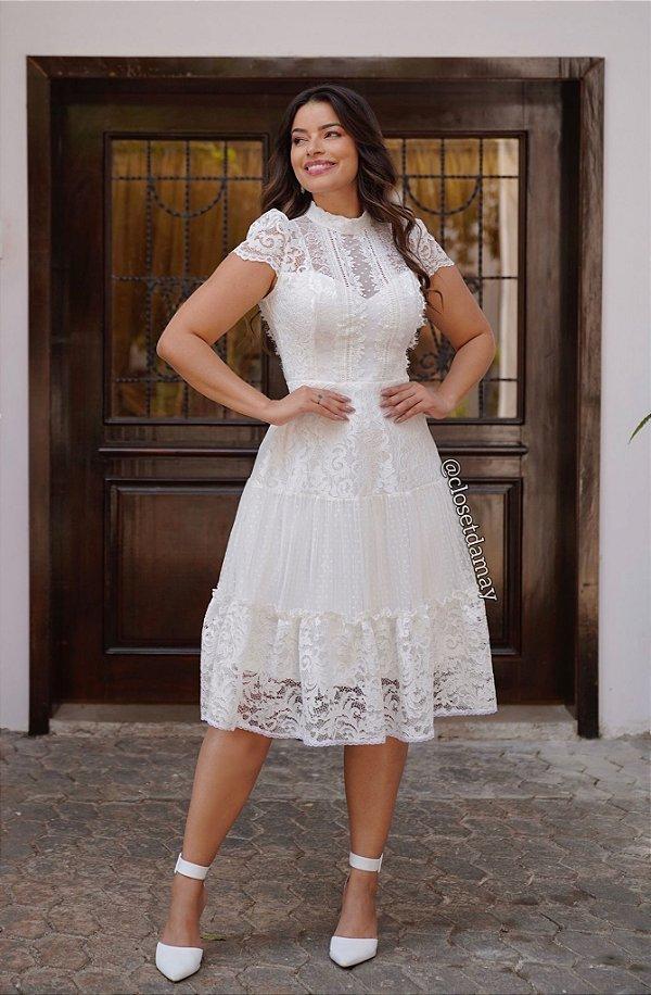 Vestido de noiva lady like, com renda e tule de poá