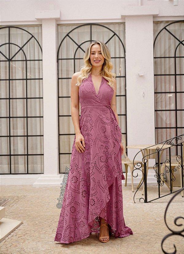 Vestido de festa longo, em leze, com decote V e saia transpassada