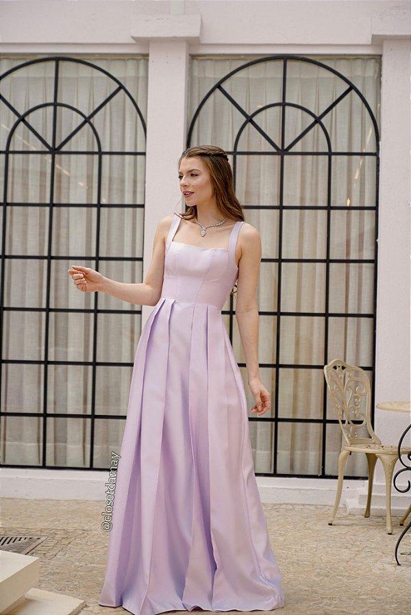Vestido de festa longo, em zibeline, com decote quadrado e pregas na saia