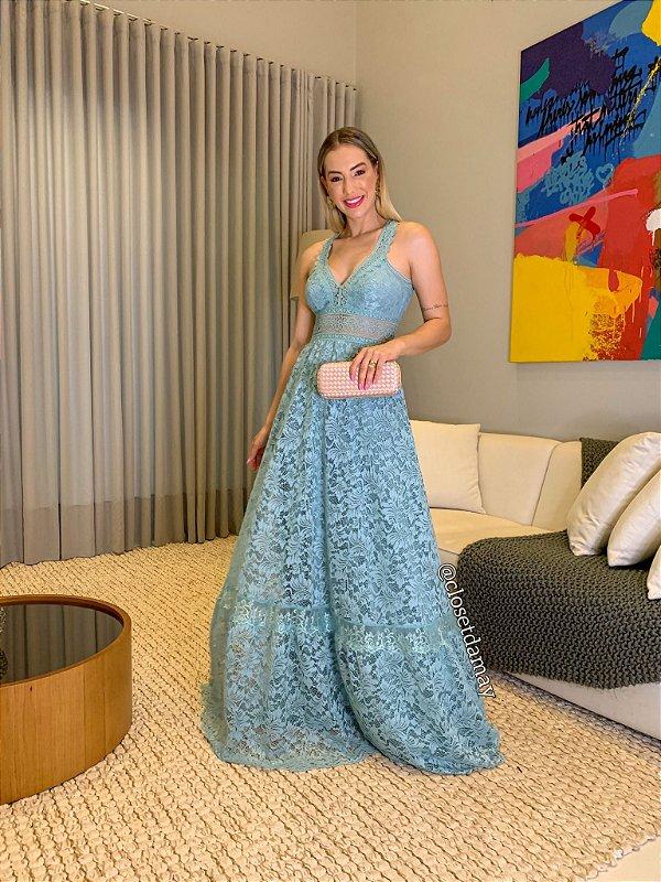 Vestido de festa longo, em renda, com detalhes em guipir