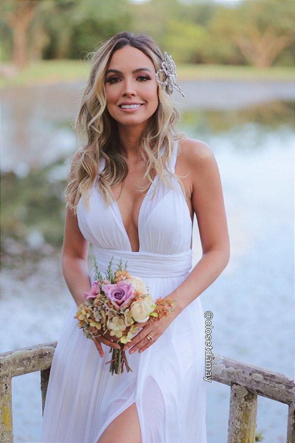 Vestido noiva longo costa de amarrações.