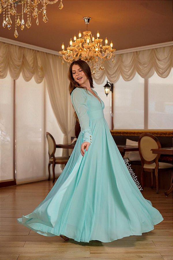 Vestido de festa longo, com magas e decote v, para madrinhas, formandas