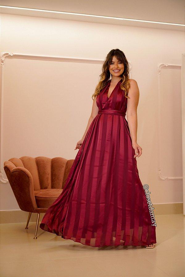 Vestido de festa longo, listrado, em crepe de seda, tamanho único, para formatura, aniversário, madrinha
