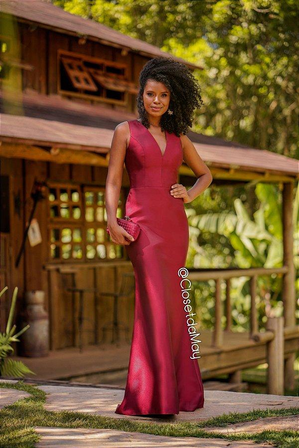 vestido de festa, zibeline, sereia, decote em V, para madrinhas, convidada, formanda.