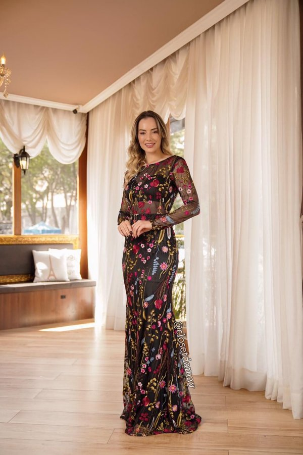 vestido de festa longo manga longa, tule bordado, com bojo, para madrinhas, convidadas, formanda