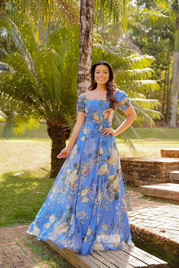 Vestido de festa floral, com decote reto ombro a ombro e mangas curtas