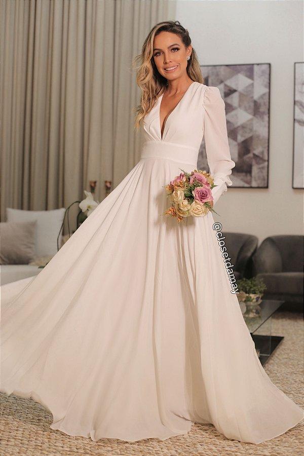 Vestido de noiva, civil, prewedding, longo, fluido