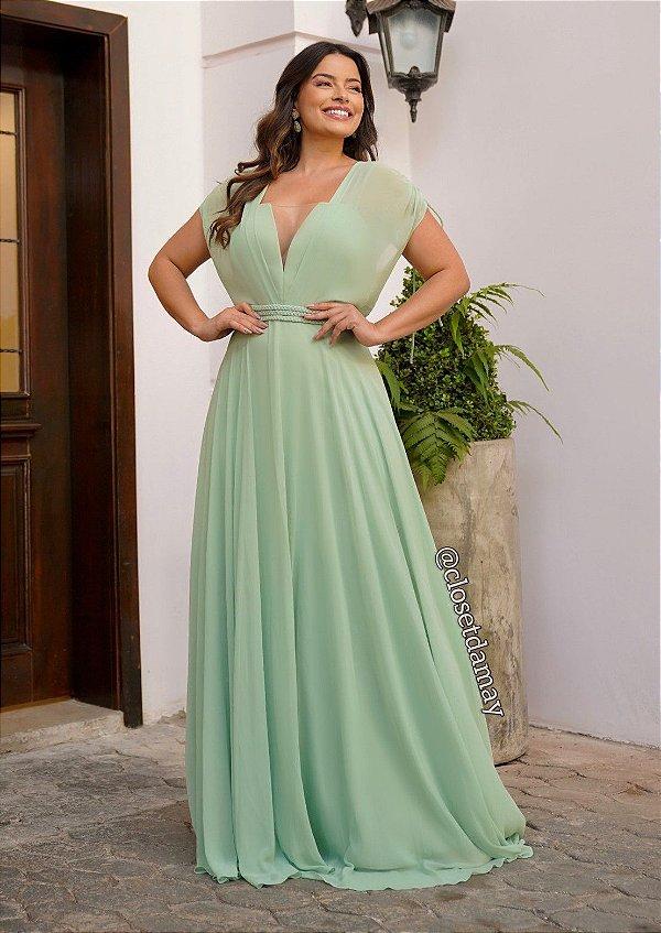 Vestido longo com base estruturada e sobreposição, ideal para madrinhas de casamento e convidadas