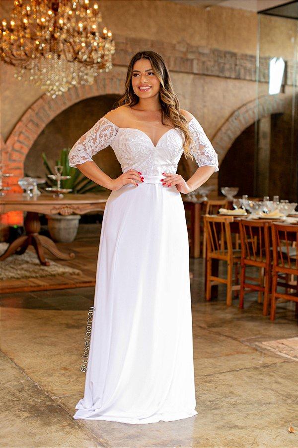 Vestido de noiva longo plus size com tule bordado e manga 3/4