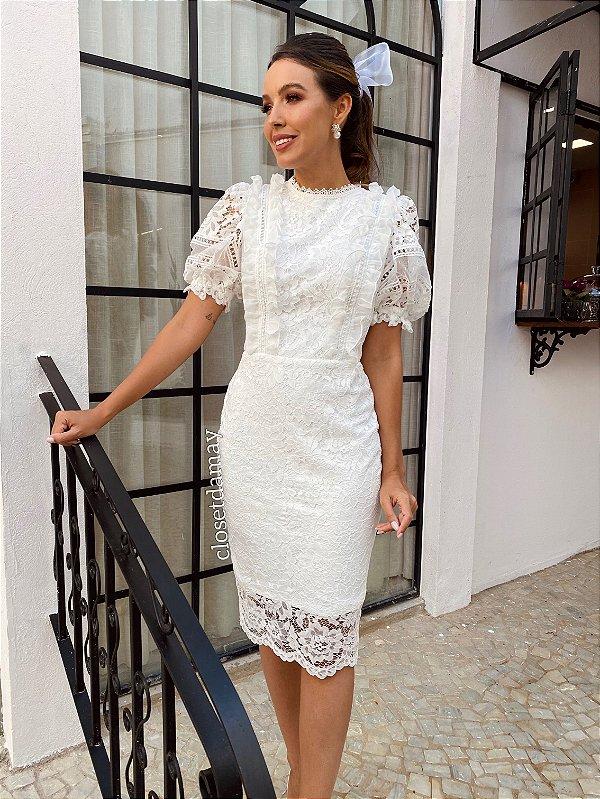 Vestido Moana de noiva midi todo em renda, para casamento civil e intimista