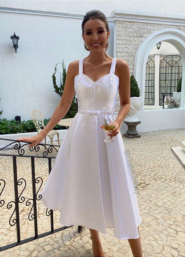 Vestido de noiva Lady Like em zibeline com cinto chanel
