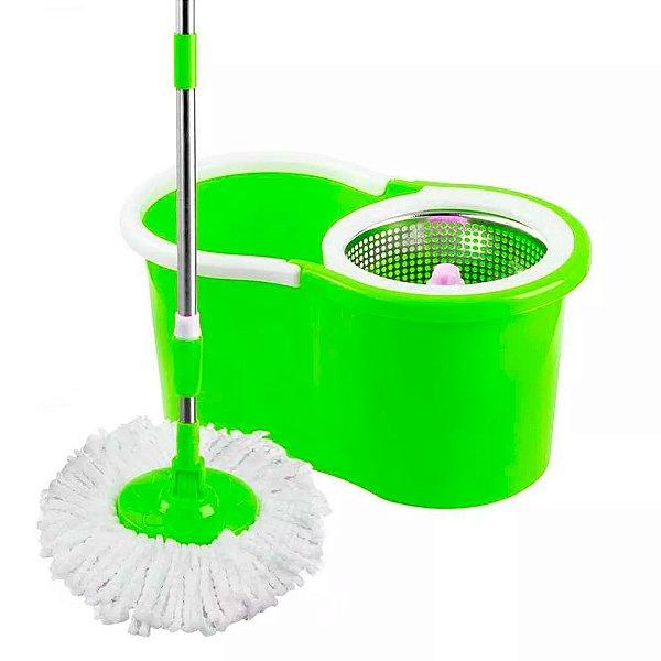 Esfregão Mop para Limpeza de Microfibra 360º com Balde Centrífuga de Inox