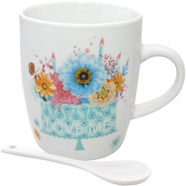 Caneca com 1 Colher de Porcelana Kook Love Estampada em Aquarela Love Me 240 ml