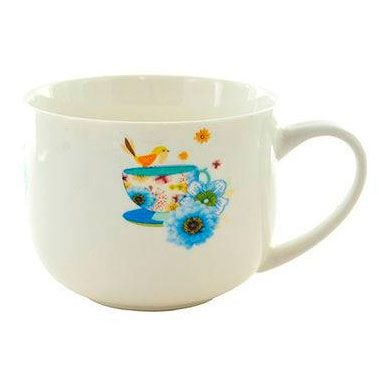 Caneca de Porcelana Kook Love Me Estampado Pinceladas de Aquarela Colorida 470 ml