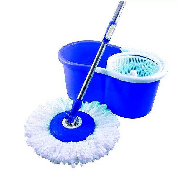 Esfregão Mop Bompack para Limpeza de Microfibra 360º com Balde Centrífuga de Inox