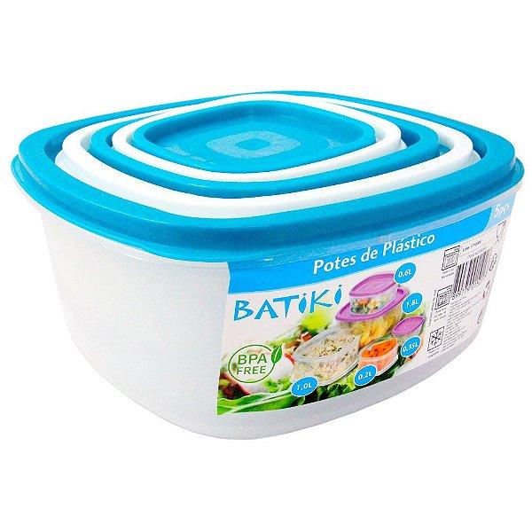 Kit com 5 Potes de Plástico BPA Free Batiki Transparente com Tampa Branca e Azul 8,5 x 18 cm - Ref. 06390