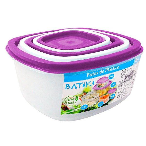 Kit com 5 Potes de Plástico BPA Free Batiki Transparente com Tampa Branca e Roxo 8,5 x 18 cm - Ref. 06390