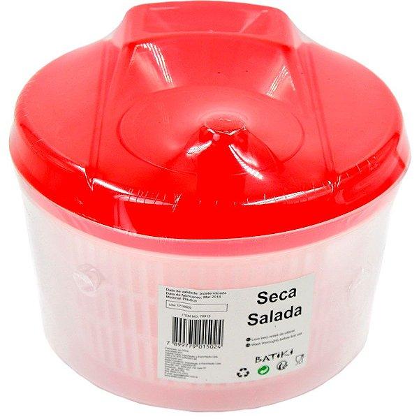 Seca Salada de Plástico Batiki Transparente com Tampa Vermelha 15 x 20 cm - Ref. 78915