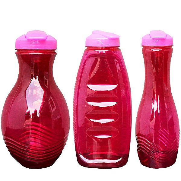 Kit com 3 Garrafas de Plastico PET e Tampa PP para Líquidos em Geral nas Medidas 1000, 1000 e 1500 ml - Cor: Vermelho