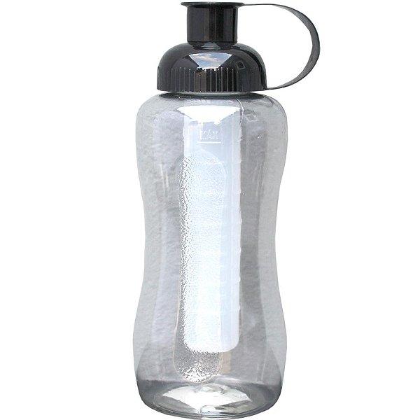 Garrafa Squeeze Artclips de Plastico PET e Tampa PP com Tubo para Gelo PE com 600 ml - Cor: Preto
