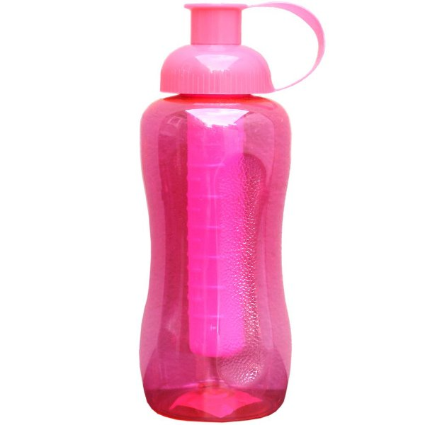 Garrafa Squeeze Artclips de Plastico PET e Tampa PP com Tubo para Gelo PE com 600 ml - Cor: Pink