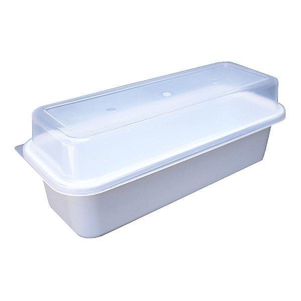Porta Pão de Forma com Tampa Usual Plastic de Plástico Translúcido 32 x 13 x 12 cm - Cor: Branco - Ref. 236